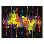 Crazy Multicolored Double Running Splashes Horizon Rectangular Jigsaw Puzzl Front