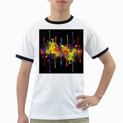 Crazy Multicolored Double Running Splashes Horizon Ringer T Shirts