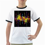 Crazy Multicolored Double Running Splashes Horizon Ringer T-Shirts Front