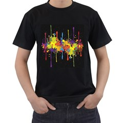 Crazy Multicolored Double Running Splashes Horizon Men s T Shirt (black) (two Sided)