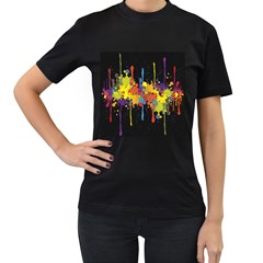 Crazy Multicolored Double Running Splashes Horizon Women s T Shirt (black) (two Sided)