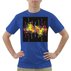 Crazy Multicolored Double Running Splashes Horizon Dark T Shirt