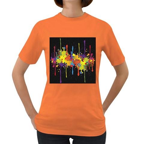 Crazy Multicolored Double Running Splashes Horizon Women s Dark T-Shirt