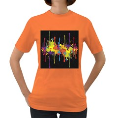 Crazy Multicolored Double Running Splashes Horizon Women s Dark T Shirt