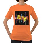 Crazy Multicolored Double Running Splashes Horizon Women s Dark T-Shirt Front