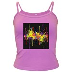 Crazy Multicolored Double Running Splashes Horizon Dark Spaghetti Tank Front