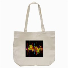 Crazy Multicolored Double Running Splashes Horizon Tote Bag (Cream)