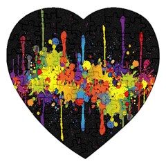 Crazy Multicolored Double Running Splashes Horizon Jigsaw Puzzle (heart)