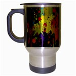 Crazy Multicolored Double Running Splashes Horizon Travel Mug (Silver Gray) Left