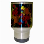 Crazy Multicolored Double Running Splashes Horizon Travel Mug (Silver Gray) Center