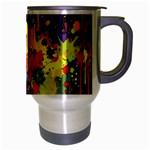 Crazy Multicolored Double Running Splashes Horizon Travel Mug (Silver Gray) Right