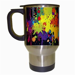 Crazy Multicolored Double Running Splashes Horizon Travel Mugs (white)