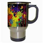 Crazy Multicolored Double Running Splashes Horizon Travel Mugs (White) Right
