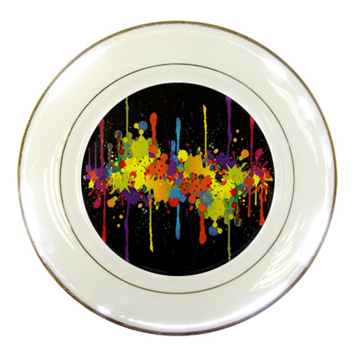 Crazy Multicolored Double Running Splashes Horizon Porcelain Plates