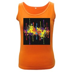 Crazy Multicolored Double Running Splashes Horizon Women s Dark Tank Top