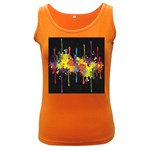 Crazy Multicolored Double Running Splashes Horizon Women s Dark Tank Top Front
