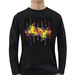 Crazy Multicolored Double Running Splashes Horizon Long Sleeve Dark T-Shirts Front