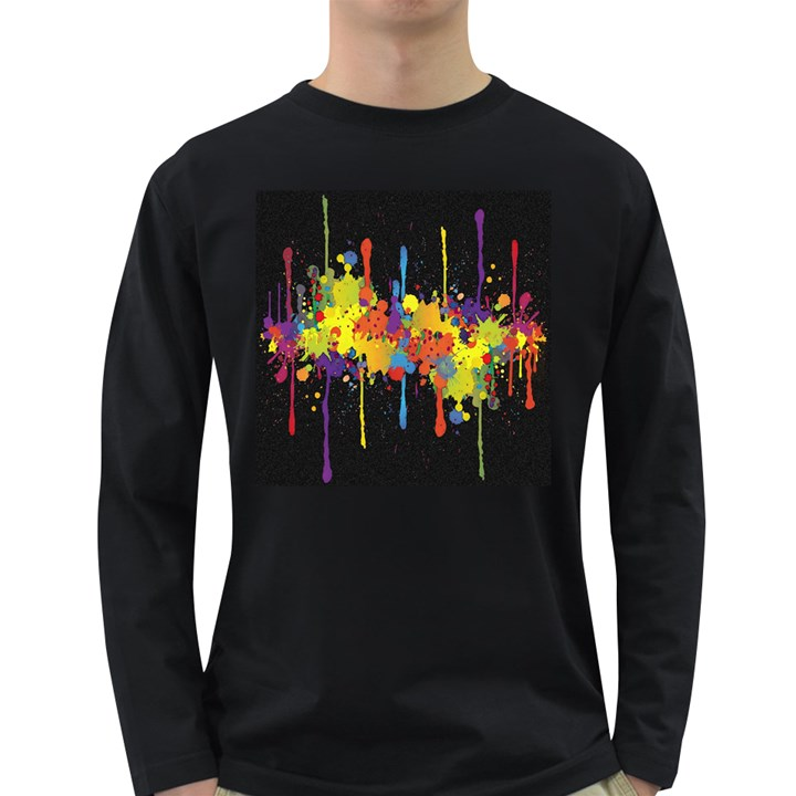 Crazy Multicolored Double Running Splashes Horizon Long Sleeve Dark T-Shirts