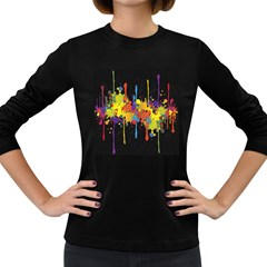 Crazy Multicolored Double Running Splashes Horizon Women s Long Sleeve Dark T Shirts