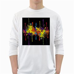 Crazy Multicolored Double Running Splashes Horizon White Long Sleeve T Shirts