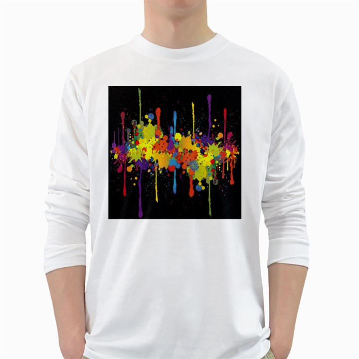 Crazy Multicolored Double Running Splashes Horizon White Long Sleeve T-Shirts