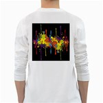 Crazy Multicolored Double Running Splashes Horizon White Long Sleeve T-Shirts Back