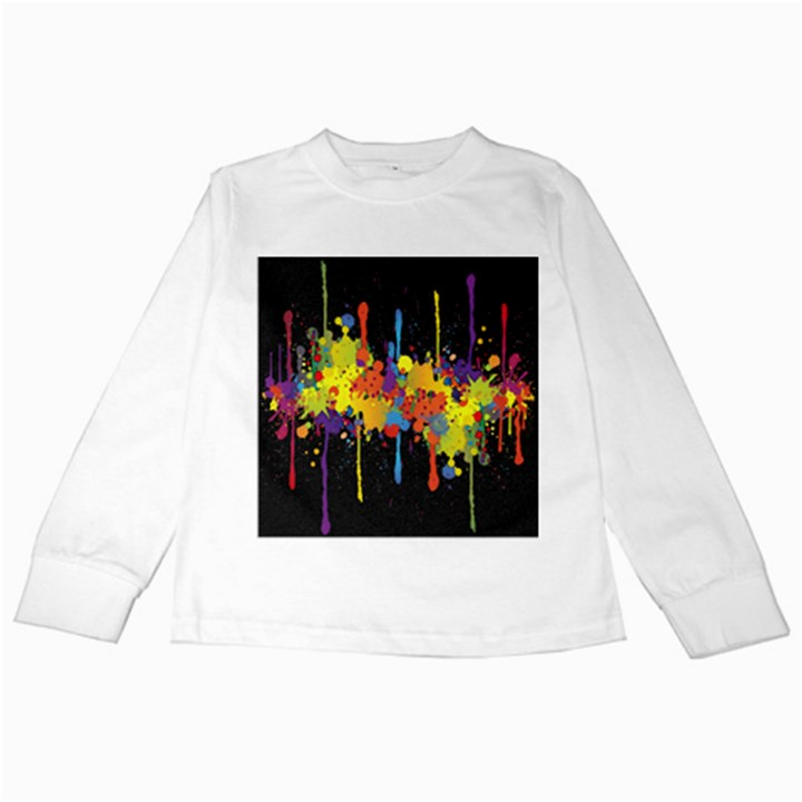 Crazy Multicolored Double Running Splashes Horizon Kids Long Sleeve T-Shirts