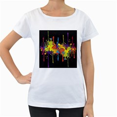 Crazy Multicolored Double Running Splashes Horizon Women s Loose Fit T Shirt (white)