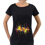 Crazy Multicolored Double Running Splashes Horizon Women s Loose-Fit T-Shirt (Black) Front