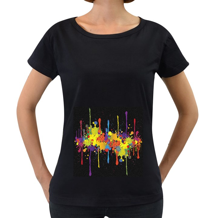Crazy Multicolored Double Running Splashes Horizon Women s Loose-Fit T-Shirt (Black)