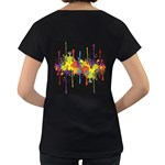 Crazy Multicolored Double Running Splashes Horizon Women s Loose-Fit T-Shirt (Black) Back
