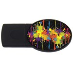 Crazy Multicolored Double Running Splashes Horizon USB Flash Drive Oval (4 GB)  Front