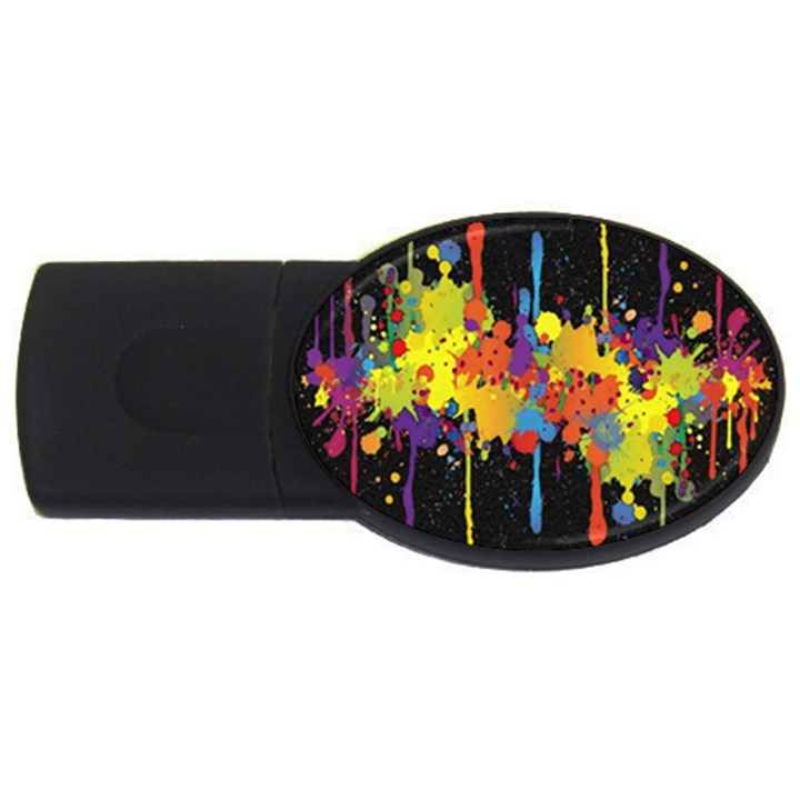 Crazy Multicolored Double Running Splashes Horizon USB Flash Drive Oval (4 GB)
