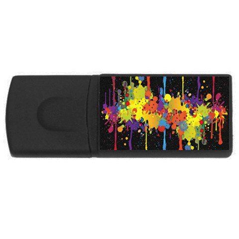 Crazy Multicolored Double Running Splashes Horizon USB Flash Drive Rectangular (4 GB)