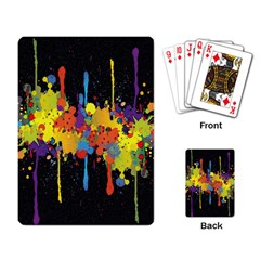 Crazy Multicolored Double Running Splashes Horizon Playing Card