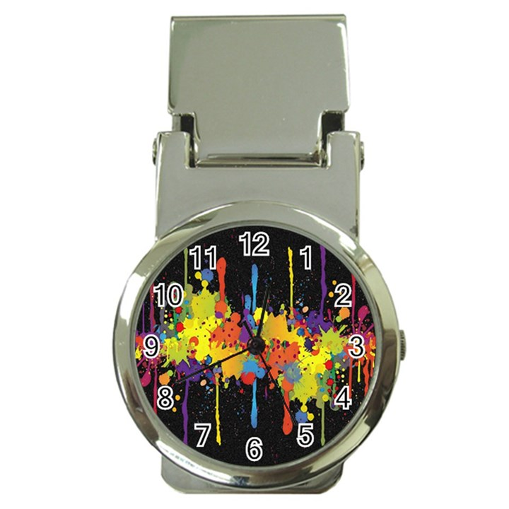 Crazy Multicolored Double Running Splashes Horizon Money Clip Watches