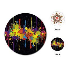 Crazy Multicolored Double Running Splashes Horizon Playing Cards (round)