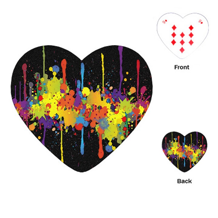 Crazy Multicolored Double Running Splashes Horizon Playing Cards (Heart)
