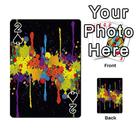 Crazy Multicolored Double Running Splashes Horizon Playing Cards 54 Designs