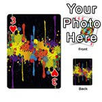 Crazy Multicolored Double Running Splashes Horizon Playing Cards 54 Designs  Front - Heart3