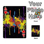 Crazy Multicolored Double Running Splashes Horizon Playing Cards 54 Designs  Front - HeartA
