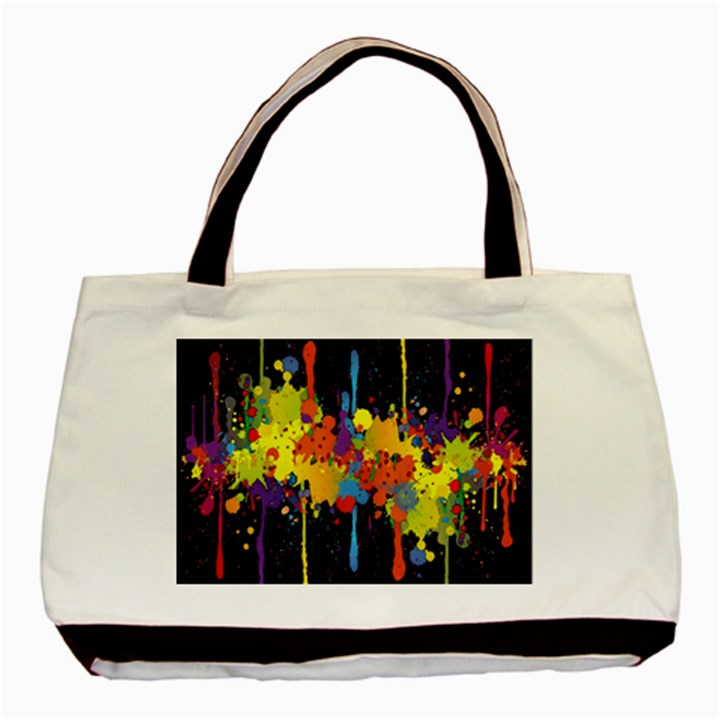 Crazy Multicolored Double Running Splashes Horizon Basic Tote Bag