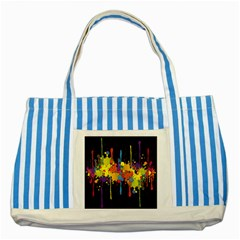 Crazy Multicolored Double Running Splashes Horizon Striped Blue Tote Bag