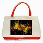 Crazy Multicolored Double Running Splashes Horizon Classic Tote Bag (Red) Front