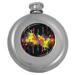 Crazy Multicolored Double Running Splashes Horizon Round Hip Flask (5 oz) Front