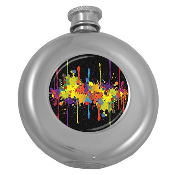 Crazy Multicolored Double Running Splashes Horizon Round Hip Flask (5 oz)