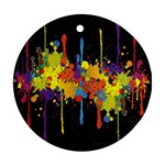 Crazy Multicolored Double Running Splashes Horizon Round Ornament (Two Sides)  Back