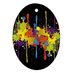 Crazy Multicolored Double Running Splashes Horizon Oval Ornament (two Sides)