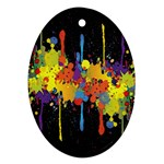 Crazy Multicolored Double Running Splashes Horizon Oval Ornament (Two Sides) Back