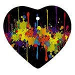 Crazy Multicolored Double Running Splashes Horizon Heart Ornament (2 Sides) Front